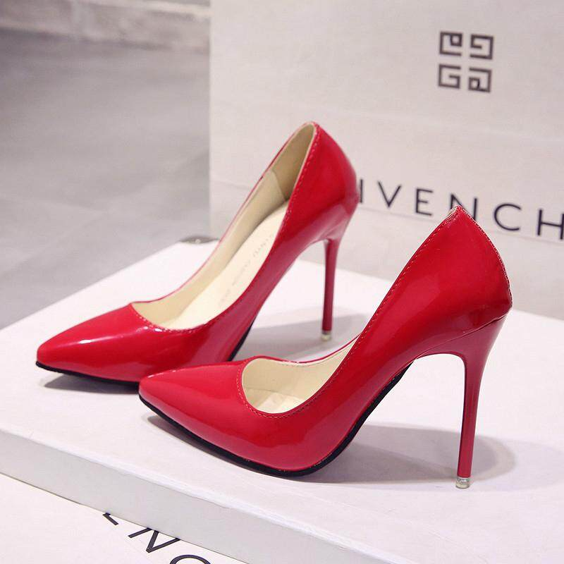 Sexy Lady Pumps Patent Leather Red High Heels Pointed Toe Sandals Luxury  Graffiti Brand Designer Shinny e0d9794c9080