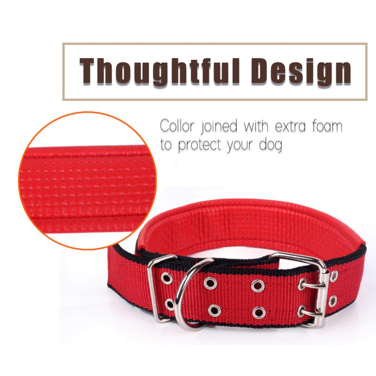 3 functions Large Big Size Dog W-DLL Double Colours Nylon Dog Leash 1.5m with Collars and Hardness (Blue+Red)
