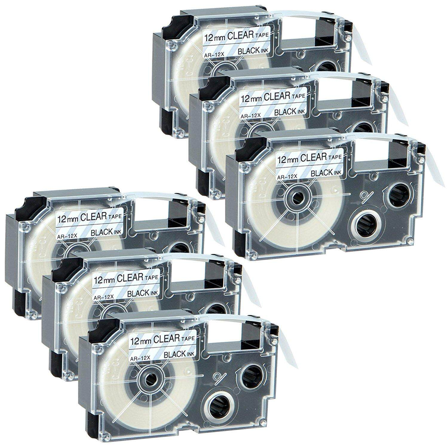 6x Labels for Casio XR-12X XR12X Adhesive Tape 12mm x 8m Black on Clear