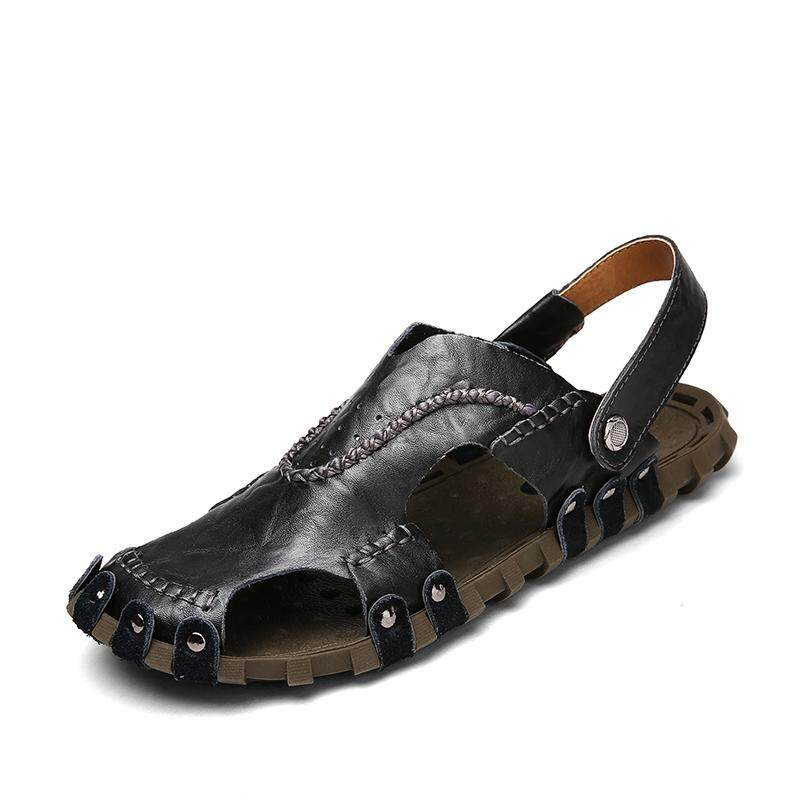 b76cc0858aa9c ... Fashion leather sandals for men breathable men s beach shoes casual  shoes outdoor summer slides sandals ...