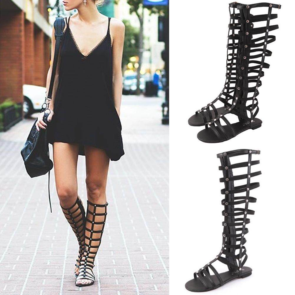 35d7e100b49 Women Gladiator Strappy Flat Knee High Long Zip Up Boots Rivet Hollowed-out  Sandals