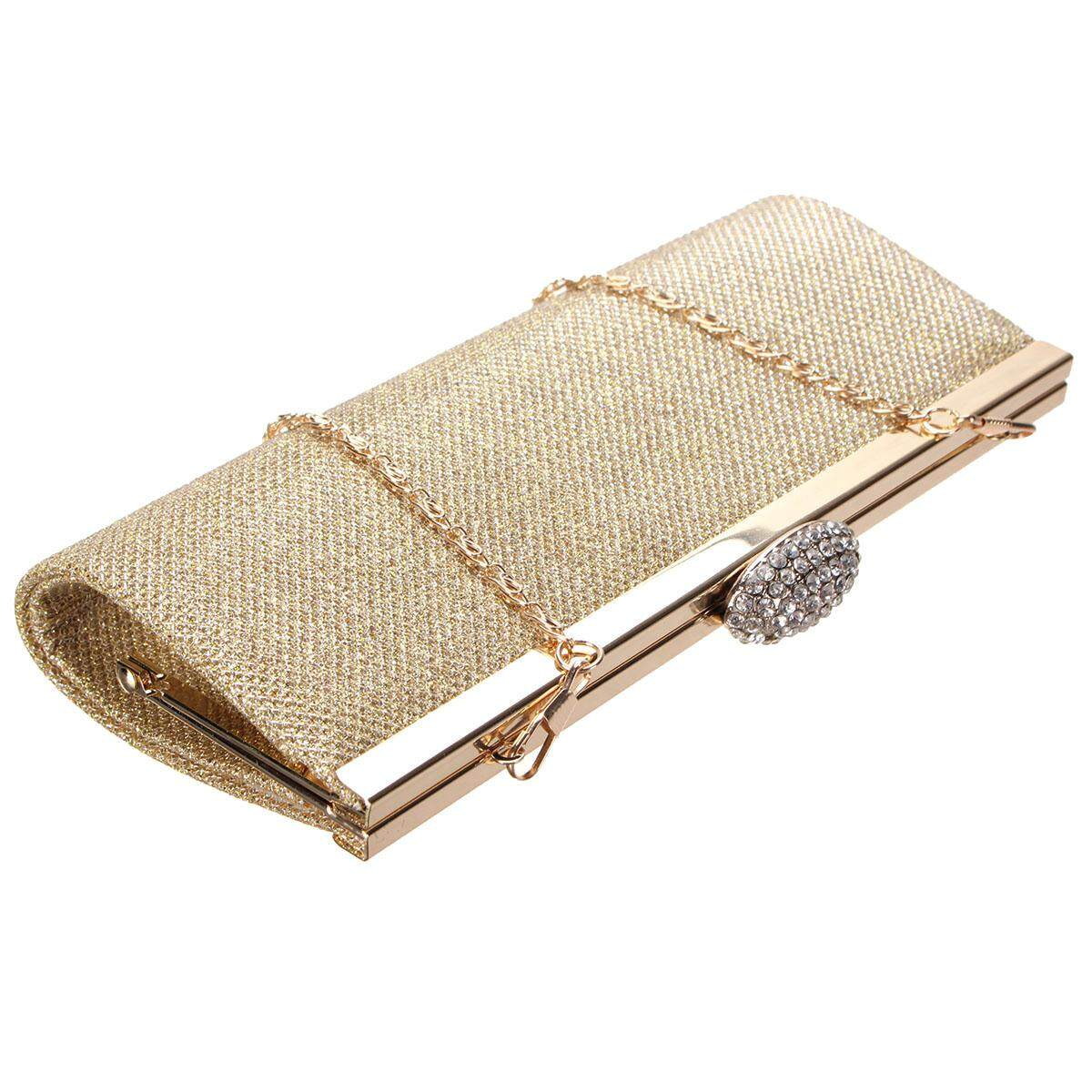 NEW WOMENS SPARKLY GLITTER CLUTCH BAG SILVER GOLD BRIDAL PROM PARTY PURSE Gold