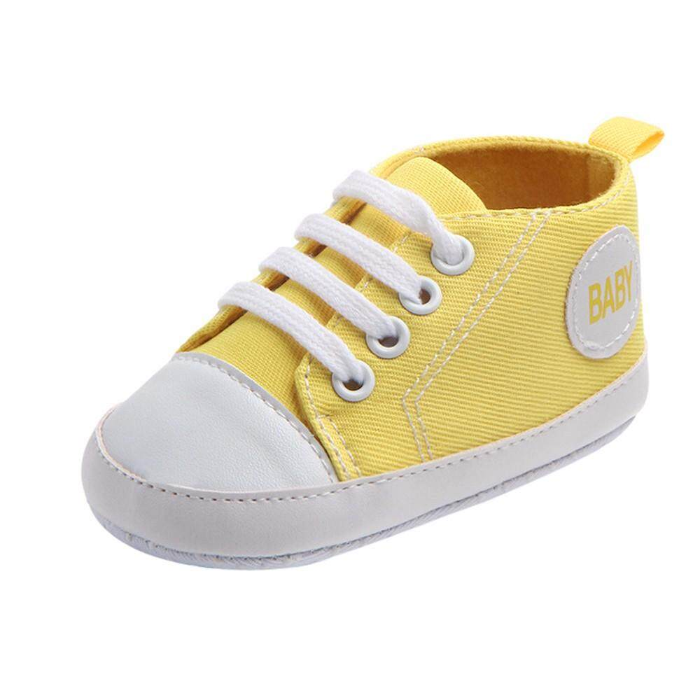 Cocol Max Bayi Bayi Baru Lahir Anak Laki-Laki Gadis Solid Kanvas Anti-Slip Alas Kaki Lembut Sneaker By Cocolmax.