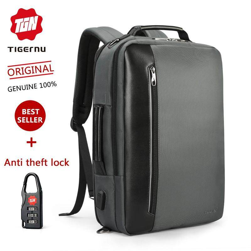 Tigernu USB Waterproof Nylon 15.6 Inch Laptop Backpack Multifunction Large Capacity Business Backpack Fashion Travel Backpack for Men