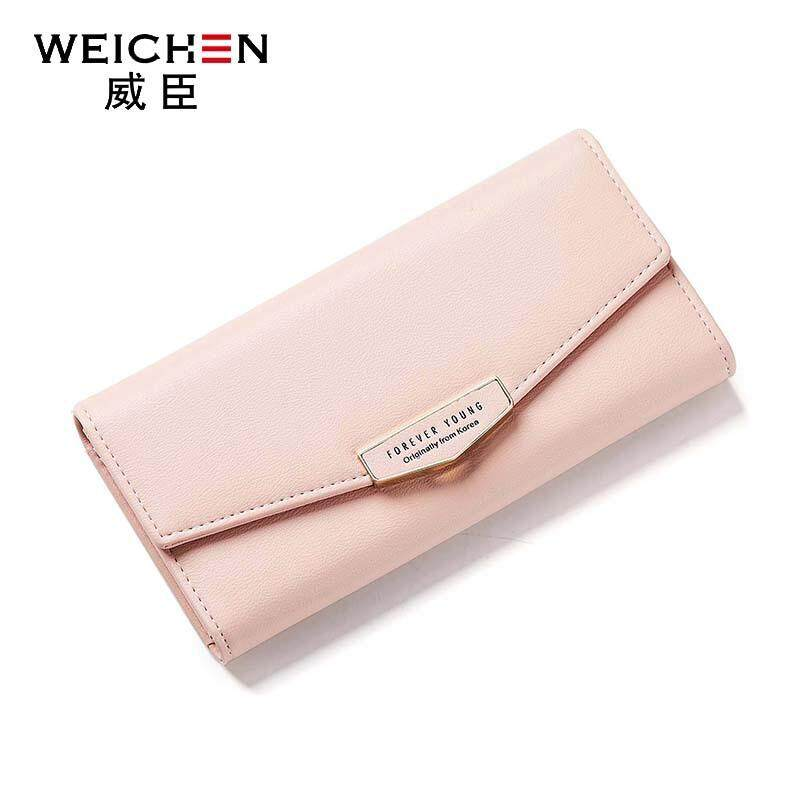 Weichen dompet wanita panjang versi Korea dari tiga kali lipat multi-fungsi tas clutch mode
