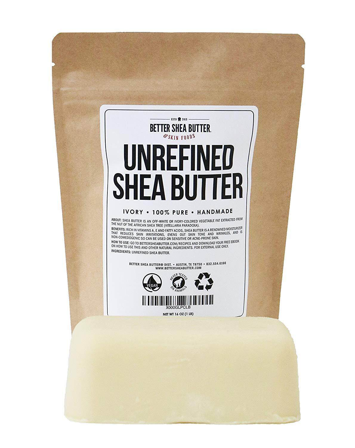 Unrefined Ivory Shea Butter - Raw, 100% Pure, from West Africa - Moisturizing for Dry, Cracked Skin and Eczema - Use on Body, Face and Hair and in DIY