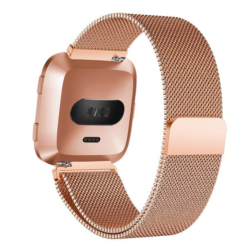 For Fitbit Versa Sport Watch Band Replacement Milanese Magnetic Clasp Stainless Steel Strap Straps Wristwatch Rose