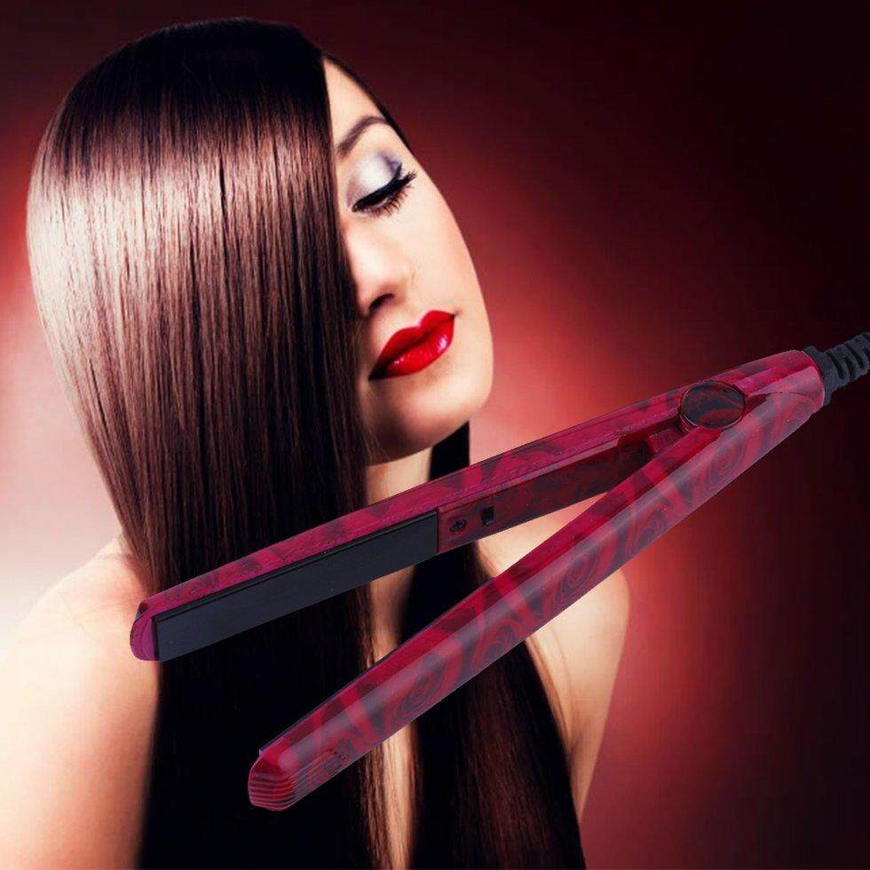 GOFT Mini EU Electronic Ceramic Hair Straightener Straightening Iron Tool 220V red rose nhập khẩu