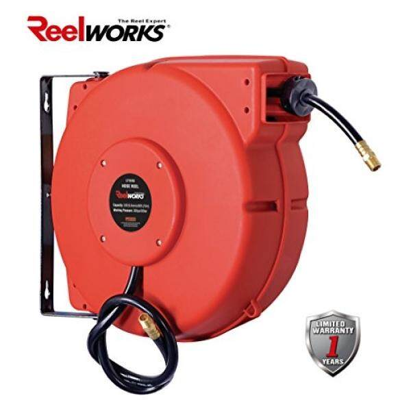 ReelWorks L715153A Plastic Retractable Air Compressor/Water Hose Reel with 3/8