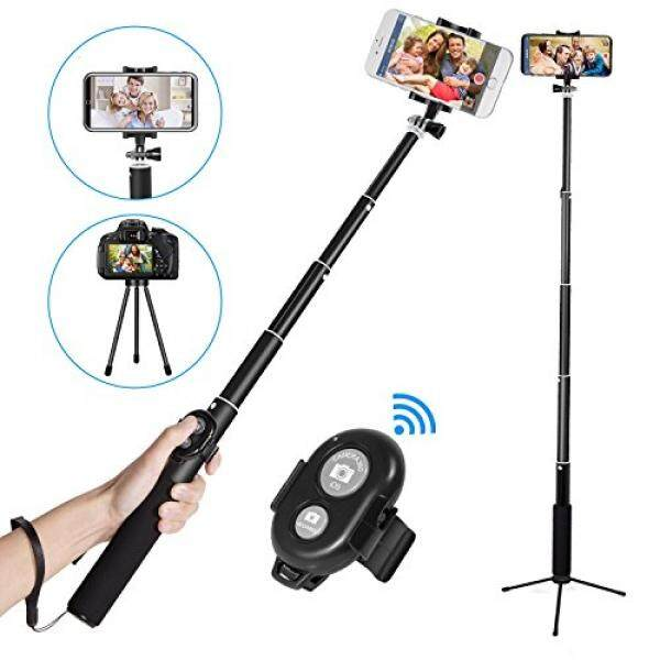 Bluetooth Selfie Stick,EletecPro Extendable Wireless Monopod with Tripod Stand Foldable Remote Control Sticker for iPhone, Samsung, other Android phones, GoPro and digital cameras (Black) - intl