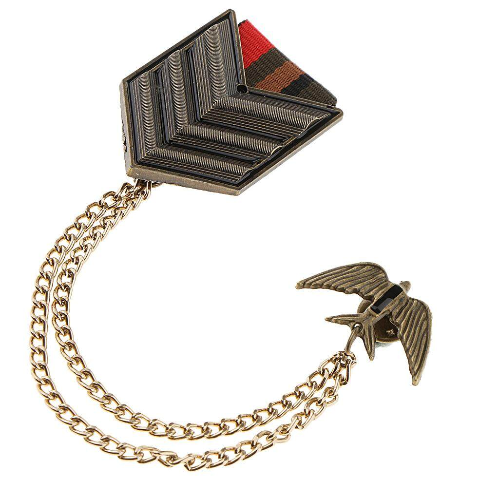 BolehDeals Retro Military Uniform Medal Chain Army Badge Brooch Lapel Pin Jewelry