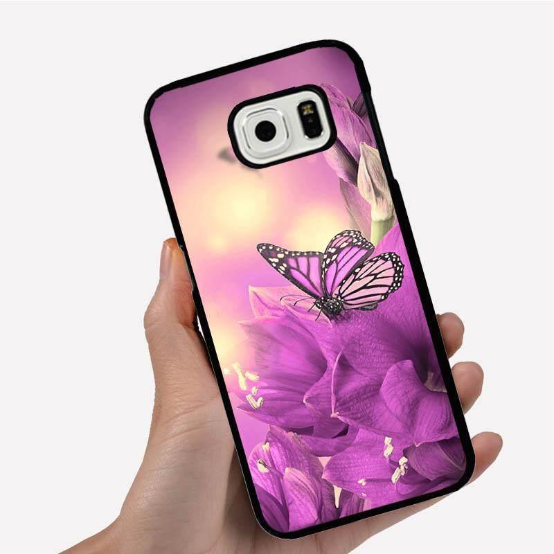 Casing Ponsel untuk Xiaomi Redmi 3 S dengan Satu Ungu Kupu-kupu dan Bunga Gambar Kartun Pola Plastik Anti-Knock Telepon Case cover