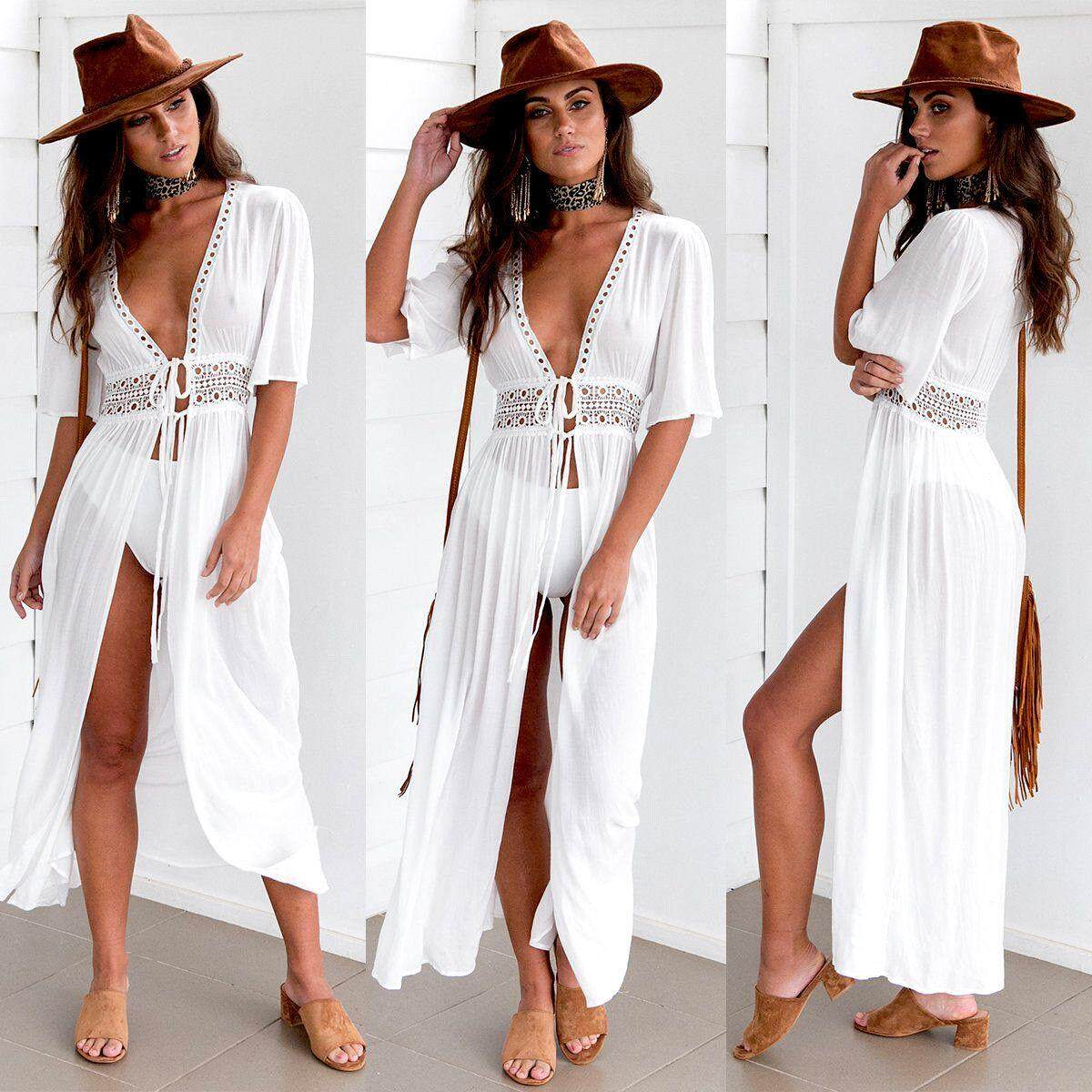 7790349f8ebff Women Beach Bikini Cover up Long Kaftan dress Summer Boho Maxi Dress  Swimwear