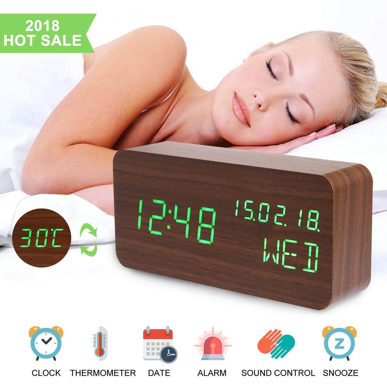 Rodeal Alarm Clock,Wood Alarm Clock Voice Command Digital Clocks For Bedroom Beside LED Wooden Clock Small Alarm Clocks 3 Levels Brightness 3 Alarms Desk Clock Show Time Date Week Temperature For Office Home - intl
