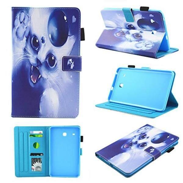 T377 Case, T375 Case, Samsung Galaxy Tab E 8.0 Case, Chgdss dengan Fitur Berdiri Fungsi Dompet Pelindung Case, multi-Sudut Pandang/Slot Kartu untuk Samsung Galaxy Tab E M-T375/T377 Putih Kucing-Intl