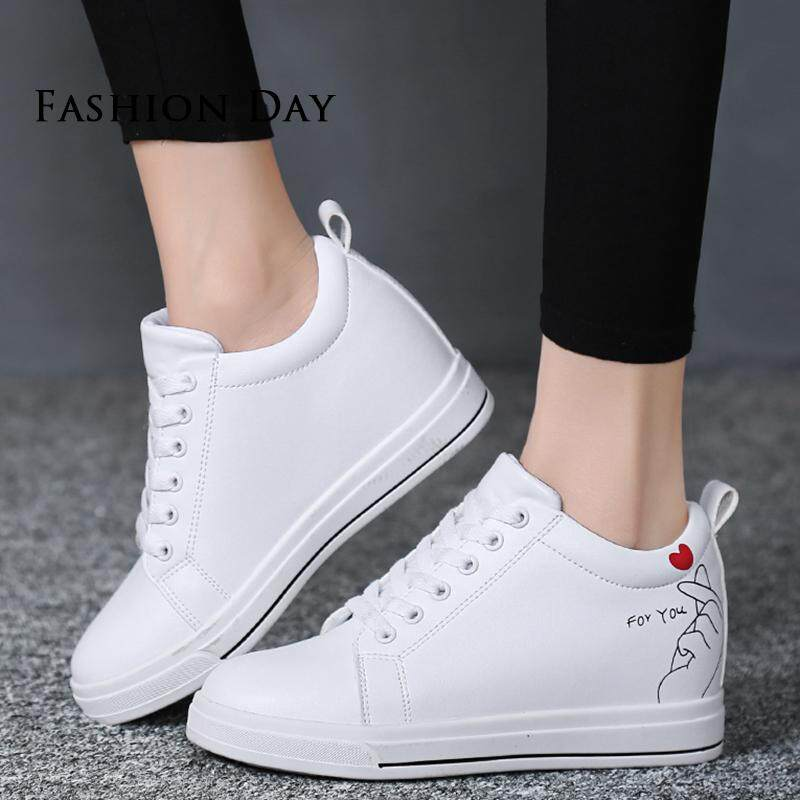 f21264272c21 Women s 8cm Hidden Heel Wedge Black White Waterproof Leather Wedge Lace Up  Leisure Shoes Women Height