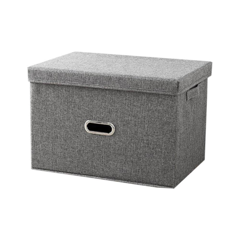 Fashion and Simple Style Storage Box, Collapsible Linen Fabric Clothing Storage Basket, Toy Box, Organizer with Lids, for Kids and More, Large, Grey Free Shipping