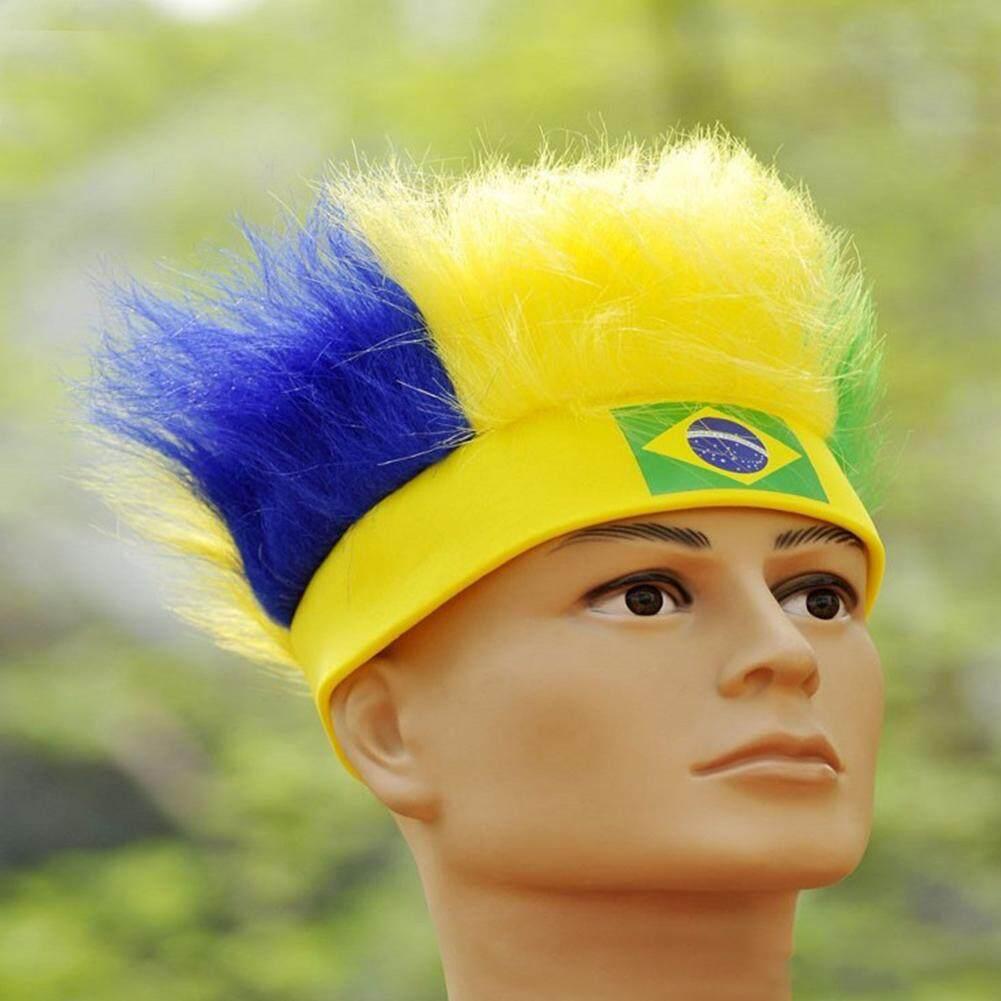 2018 Rusia Piala Dunia Penggemar Sepak Bola Topi Bendera Nasional Brazil Warna Rambut Palsu By Magic Cube Express.