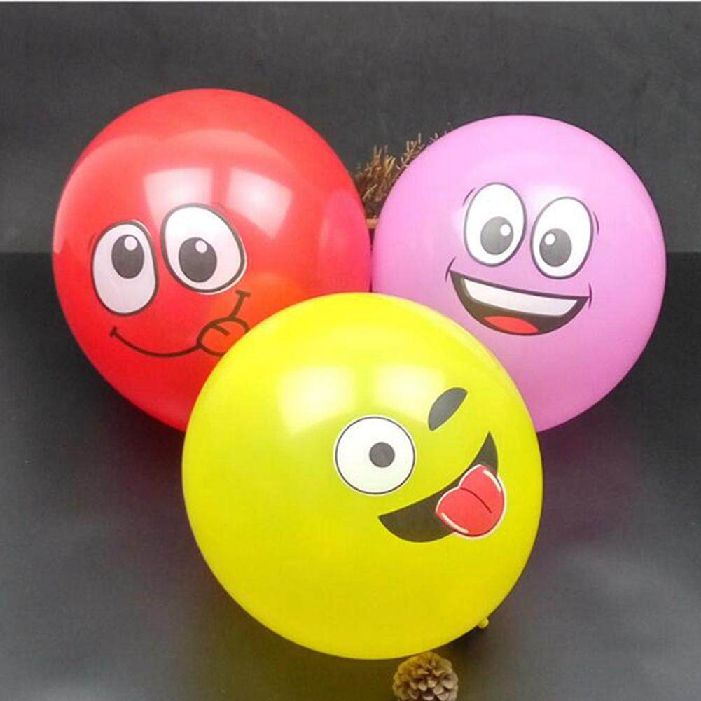 1PC/5PCS 12 Inch Multicolor Cartoon Face Expression Latex Party Balloons Random Color