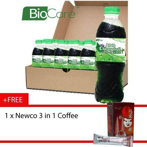Biocare Alfalfa Chlorophyll drink 24 X 500ml - Free Newco 3in1 coffee