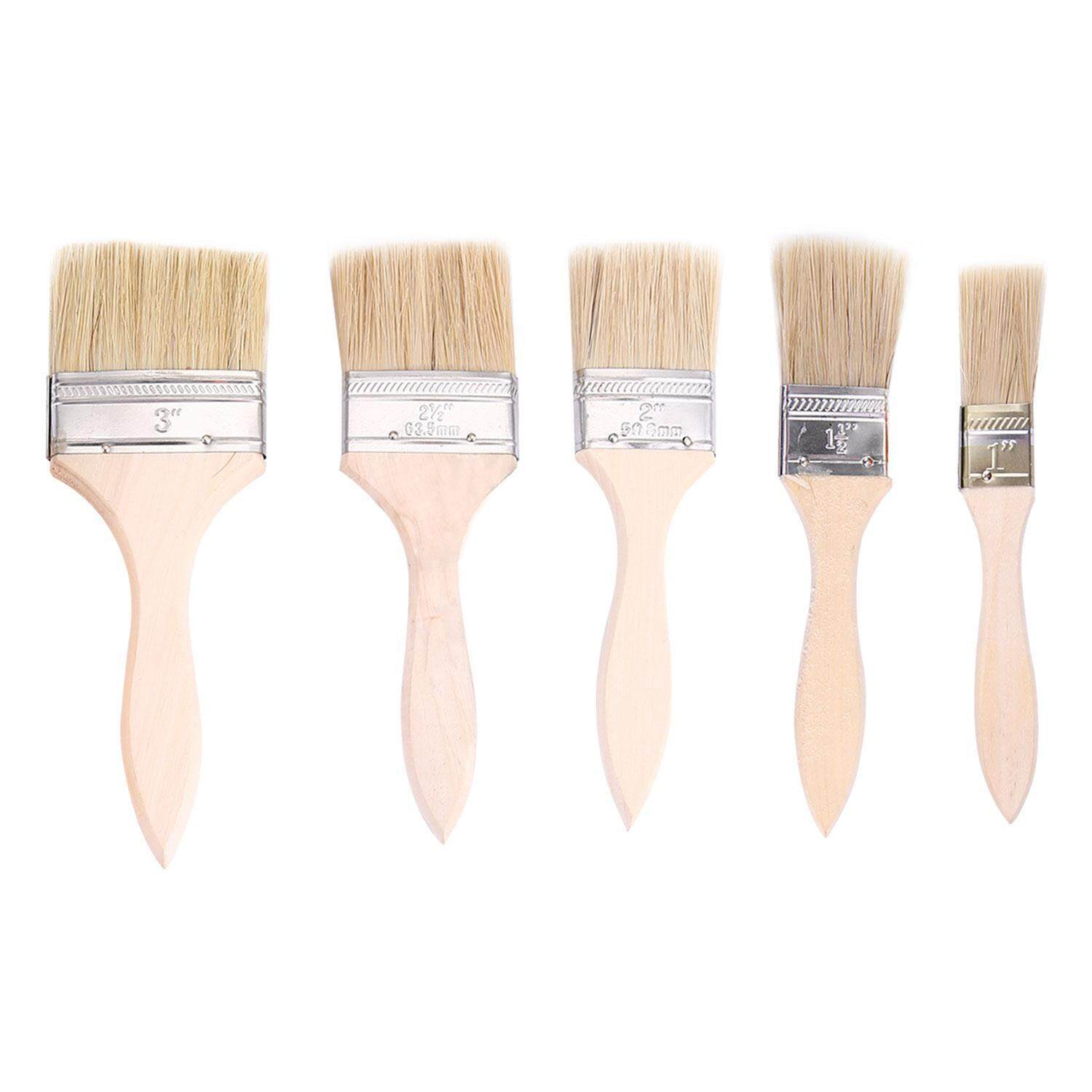 niceEshop Paint Brushes, 5 Pieces (3, 2.5, 2, 1.5 and 1-Inch) Professional Brush Set, Trim Paint Brush, Angle Sash Paint Brush, Home Paint Brushes