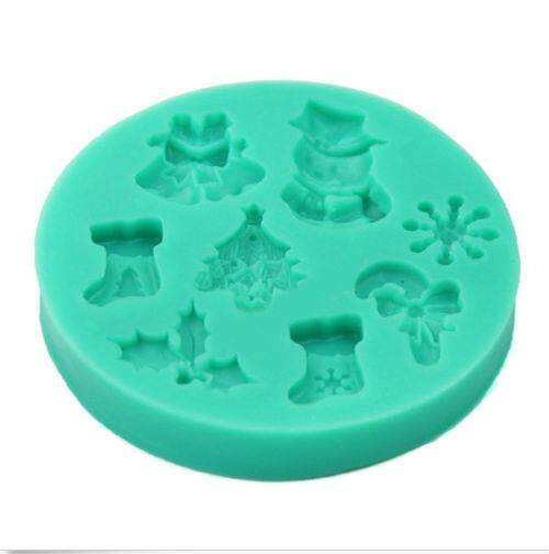 ... Fang Fang Christmas Candy Cookies Cake Fondant Silicone Mould Mold Sugarcraft Baking Tool (Blue) ...
