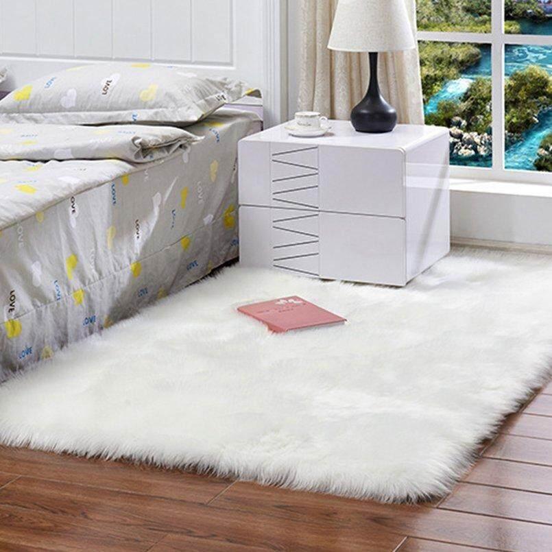CELE Soft Rectangle Faux Sheepskin Rug Sofa Carpet Living Room Bedroom Floor Mat white
