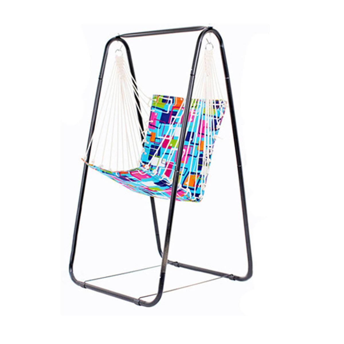 Hammock Hanging Chair Leisure Swing + Steel Foot Holder Garden Outdoor Camping - intl