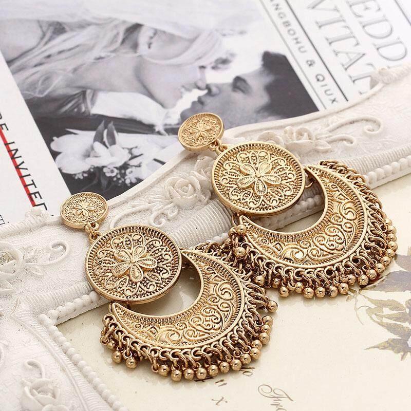 A BoHo Diukir Antik Gold Anting Lapis Perak Anting-Anting Vintage Bohemia .