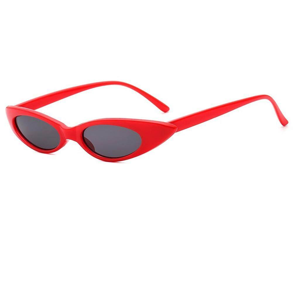 Qimiao Mode untuk Wanita Retro Bingkai Kecil Mata Kucing Kacamata Hitam UV400 Olahraga Luar Ruangan Perjalanan