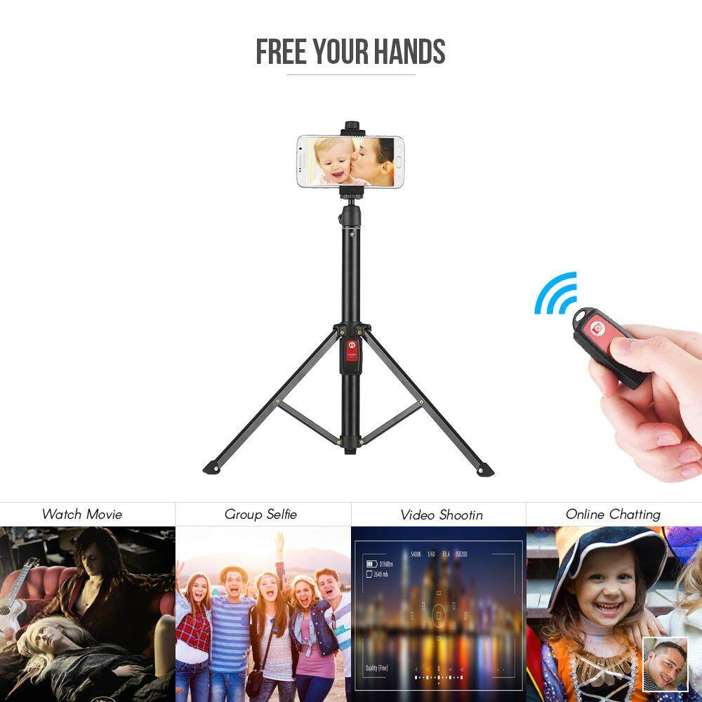 55inch Flexible Tripod Selfie Stick Support Stand with Bluetooth Remote for iPhone X 8 7 6 plus for Samsung Galaxy Note 8/S8 for GoPro Hero 6/5/4/3+ DSLR Camera - intl