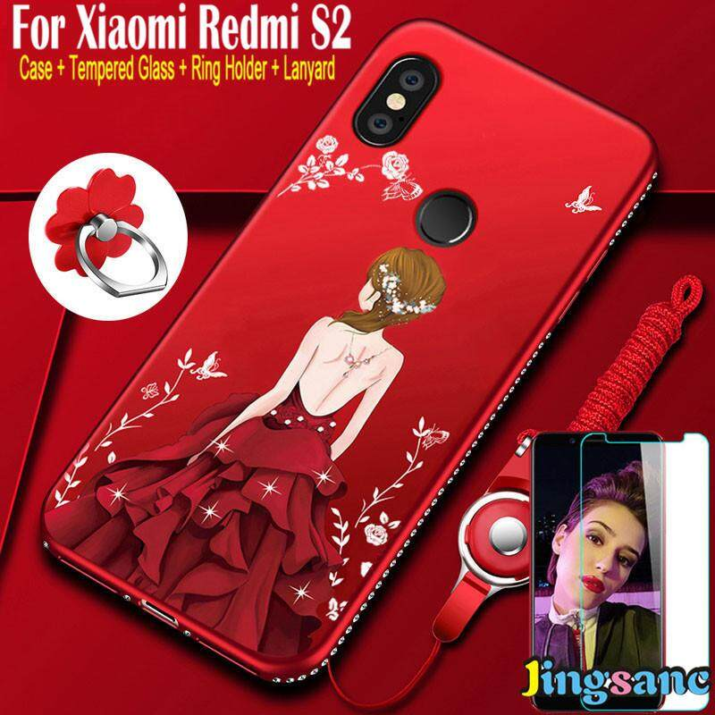 For Xiaomi Redmi S2 [Phone Case + Lanyard + Tempered Glass +Ring Holder] Soft TPU Silicone Luxury Ultra Thin Slim Bling Pretty Girl Fashion Back Case Shell Ready Stock for redmis2 - intl