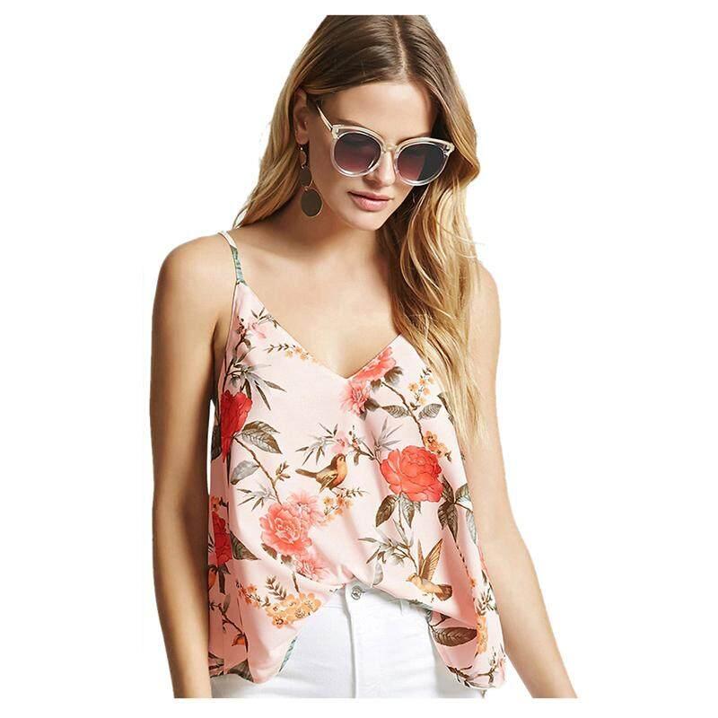 520fd4d2f8 Women s Sexy V-neck Backless Tank Tops Summer Spaghetti Strap Sleeveless  Shirts Flower Print Casual