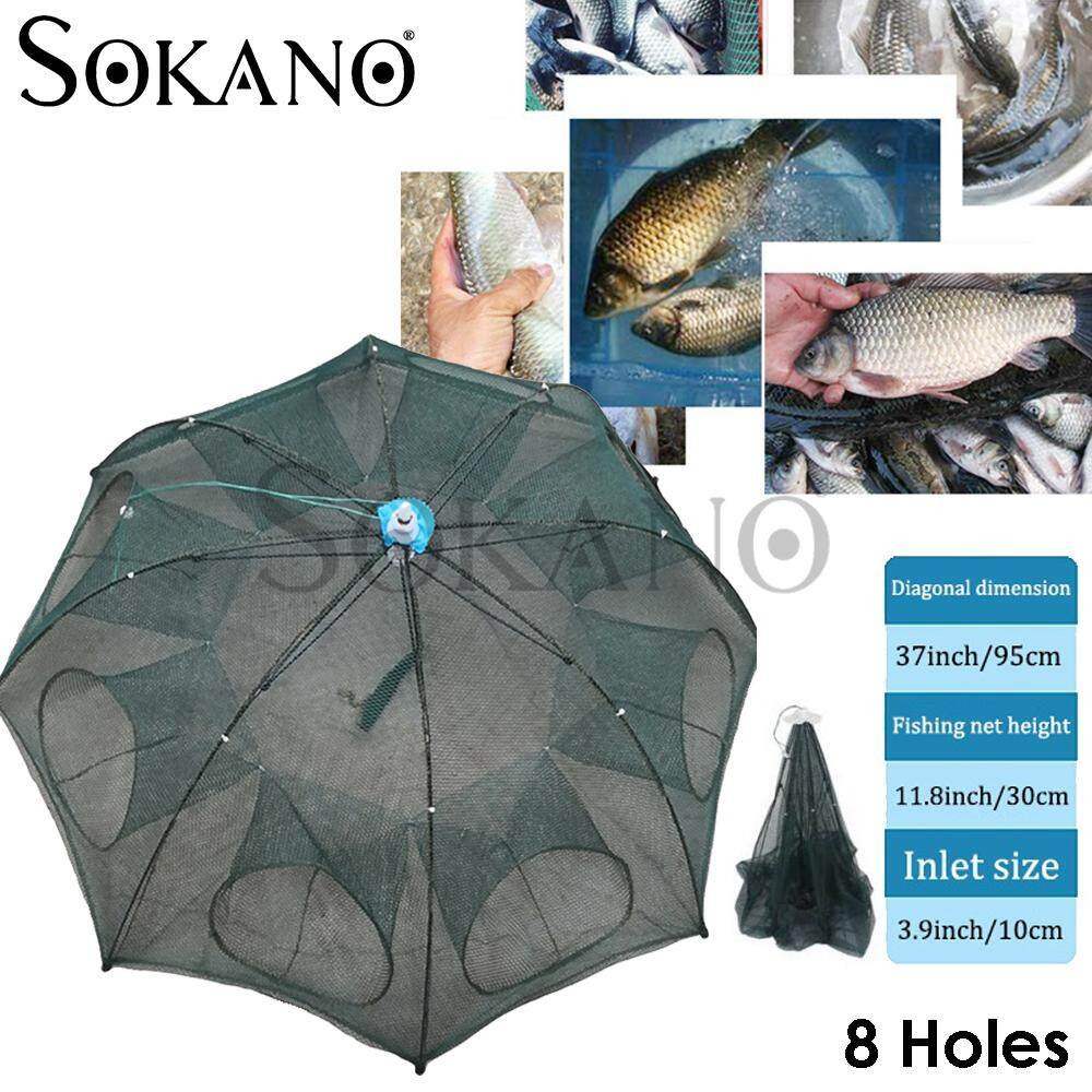 SOKANO Portable Fishing Net Shrimp Cage Nylon Automatic Foldable Catch Fish Baits Trap