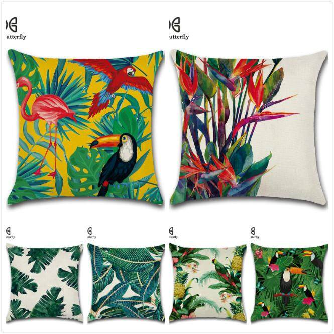 GZ Set of 6 Living Tropical plants Green Leaves Bird Throw Sofa Pillow Case Cushion Cover Linen Cotton 45cm*45cm