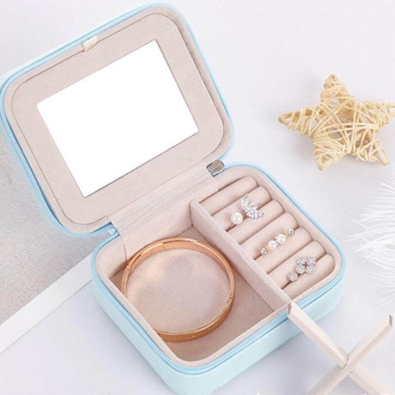 Womens Mini stud earrings rings Jewelry Box Useful Makeup Organizer With Zipper Travel Portable Jewelry Box