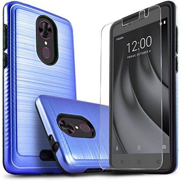 Smartphone Cases Cases T-Mobile Revvl Plus Case, CoolPad Revvl Plus Case, Starshop [Shock Absorption] Dual Layers Impact Advanced Protective Phone Cover With [Tempered Glass Screen Protector Included] (Blue) - intl