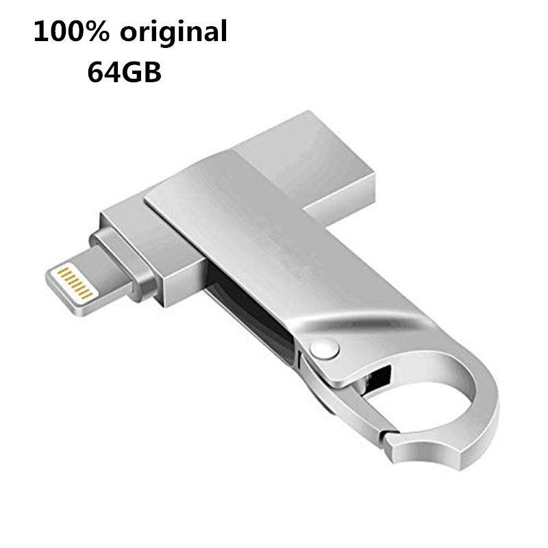 USB Flash Drive 64GB Memory Stick External Storage Photo Stick 2in1 OTG Drive Flash for iPhone