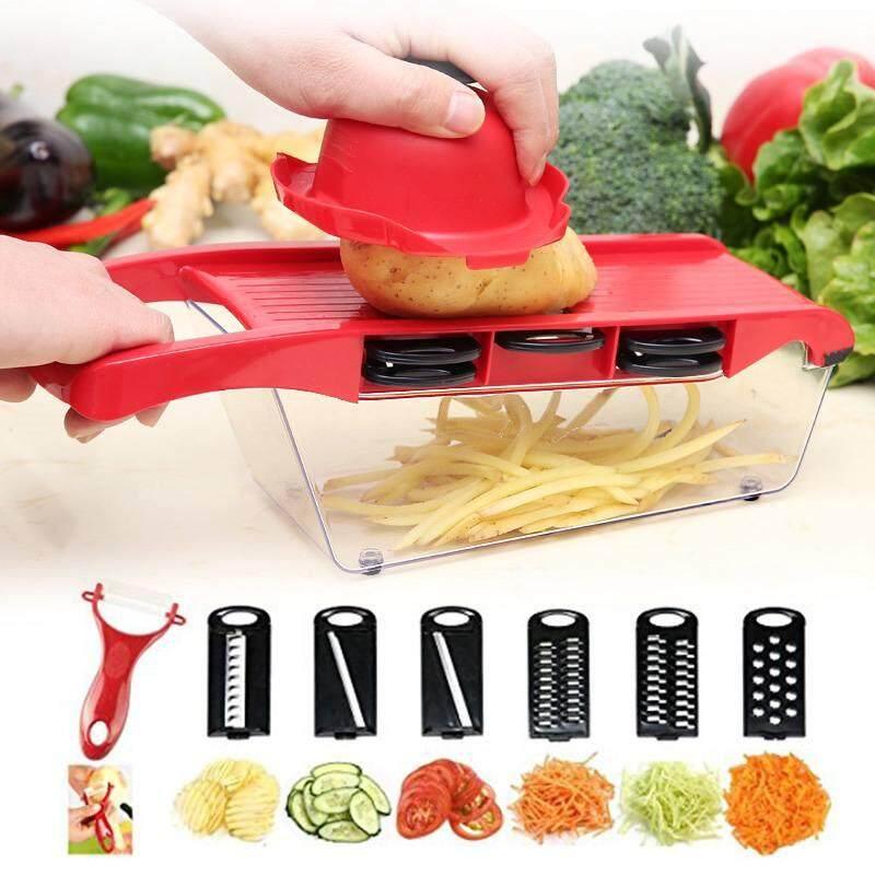Wuli 6in1 มัลติฟังก์ชั่ผลไม้เครื่องหั่นผักแครอทมันฝรั่งผลไม้ Melon Peeler เครื่องตัดด้วยตนเองเครื่องปอกผักปรับเครื่องฝานแมนโดลินอุปกรณ์ครัว + 【】 By Wuli.