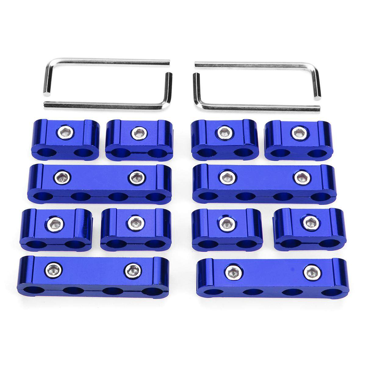 12pcs Blue Engine Wire Separator 8mm 9mm 10mm Aluminum Spark Plug Wire Divider - Intl By Teamwin.