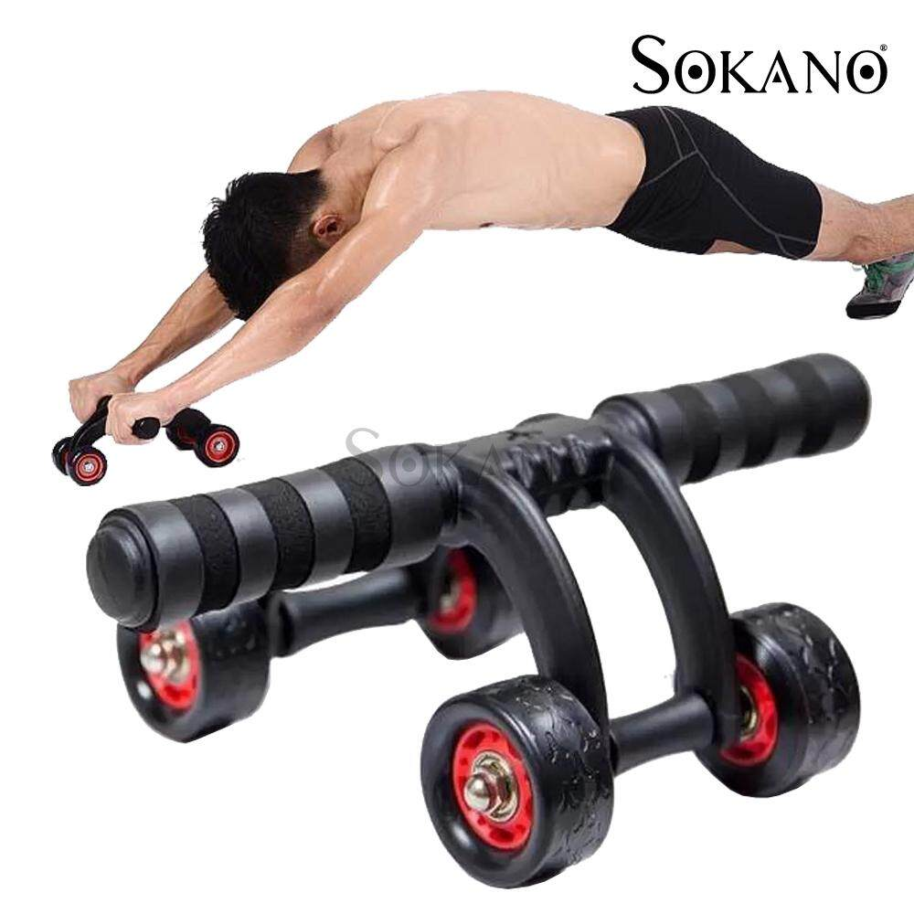 SOKANO AB Roller 4 Wheels Abdominal Muscle AB Fitness Wheel Core Oblique's Gym Equipment Support (Free Knee Mat)