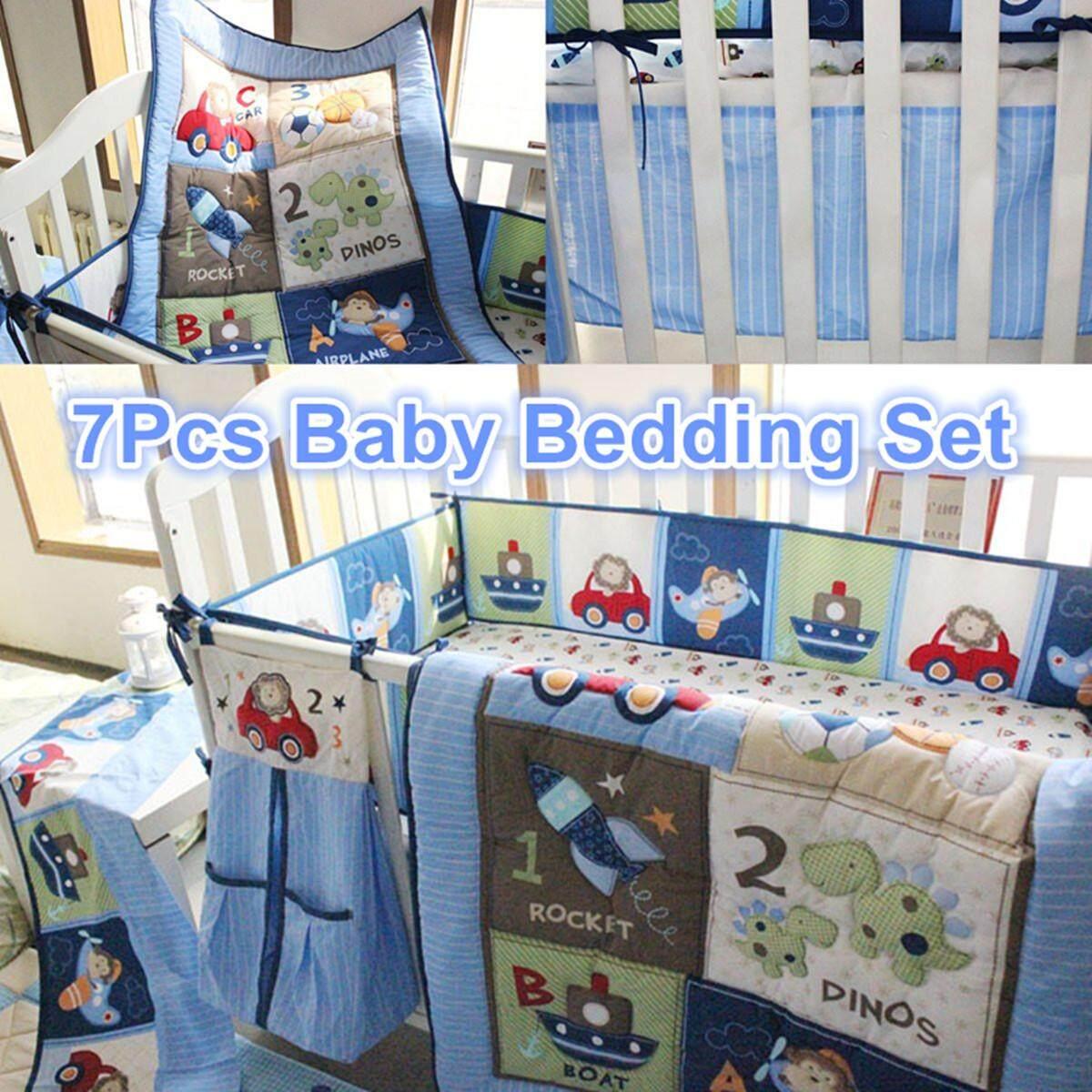 Tempat Tidur Bayi Set Tempat Cot Biru 7 Pc Nursery Popok Stacker Lembar Selimut Anak Laki-Laki Abc 123-Internasional By Teamwin.