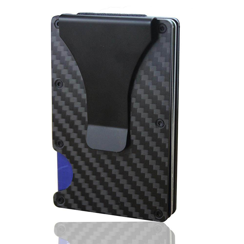 OrzBuy Carbon Fiber Men Mini Wallet Money Clip Credit Card Holder RFID Blocking Wallet 、Anti