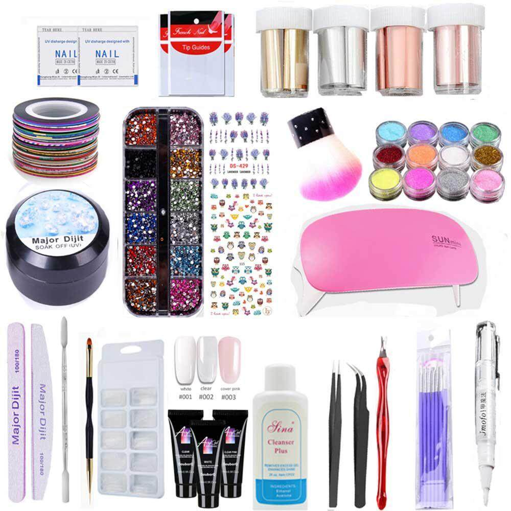 Womdee Poly Gel Nail Kit  Quick Nail Extension Builder Set with Poly Gel Tools, Long Lasting Gel Polish Set with Light Rhinestones Stickers for Starter and Professional Nail Technician Philippines
