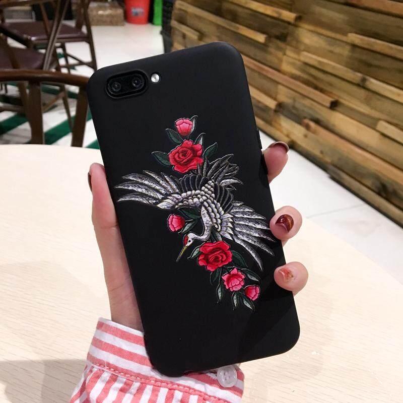 Untuk Huawei Mate 10 Case Retro TPU Bordir Pola Relief Cangkang Pelindung Ponsel dengan Lanyard Rose