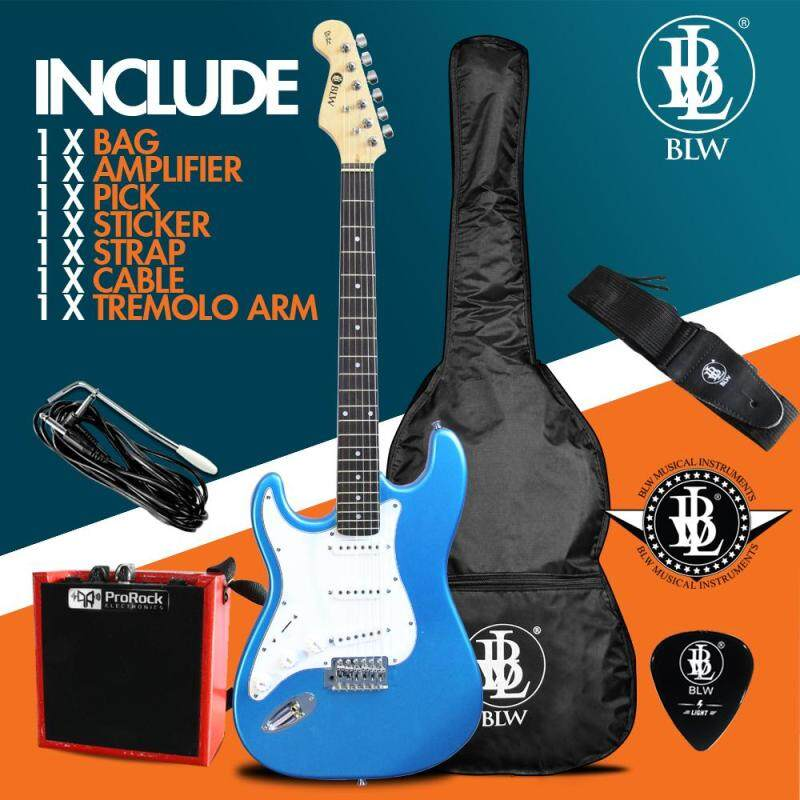 BLW Left Handed Glitz Stratocaster Style Electric Guitar Starter Beginner Pack comes with 5 Watt Amplifier Bag, Cable, Strap, Pick and Merchandise Sticker Malaysia