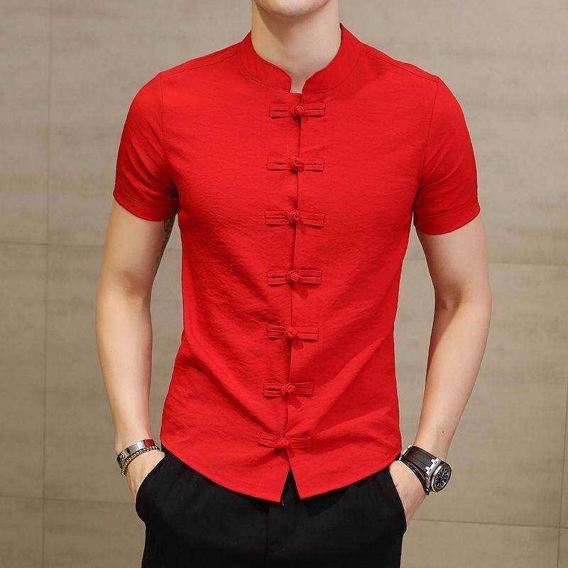 2019 Yang Menjual Kaus Angin Kencang Musim Panas Baru Modis Cina Angin Piring Gesper Warna Murni Han Edition Santai Mantel Lengan Pendek kemeja-Internasional