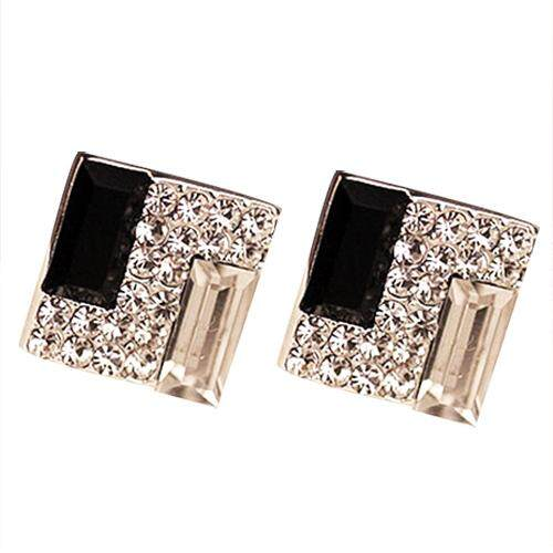 ecb1c090c40 1 Pair New Fashion Women Lady Elegant Crystal Rhinestone Ear Stud Earrings ( Black+White