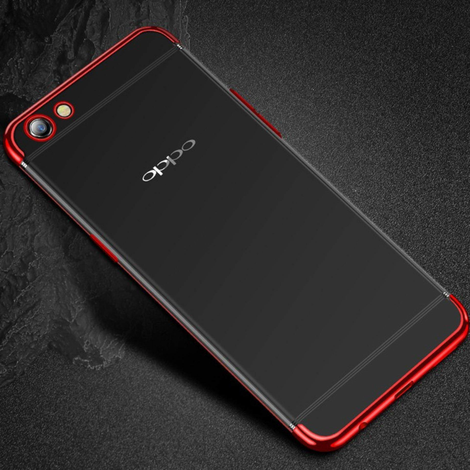 For OPPO A83 Plating Transparent Ultra Slim Soft TPU Clear Back Case Cover