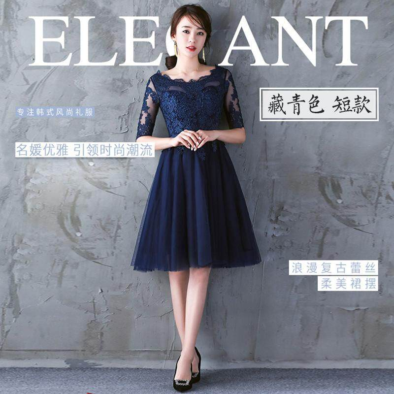 Graceful and noble women New style slimming dress for women evening gown (497 navy blue